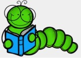 Cartoon image of a worm wearing glasses reading a book