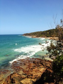 Watching the surfers at Coolum Beach