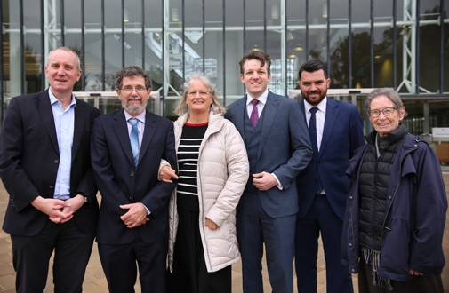 Peter Ridd (second from left) after his hearing at the High Court, June 2021, with John Roskam, Cheryl Ridd, Morgan Begg, Evan Mulholland, and Elaine Ridd.