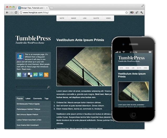 40 temas para WordPress especialmente diseñados para iPhone