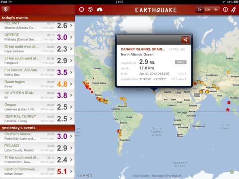 Alerta y mapa de terremotos para iOS