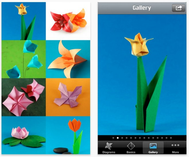 Origami, flores en papel, aplicación hoy gratuita.