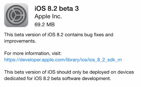 Apple publica la beta 3 de iOS 8.2