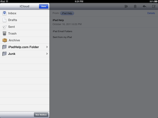 How to set up email folders on ipad
