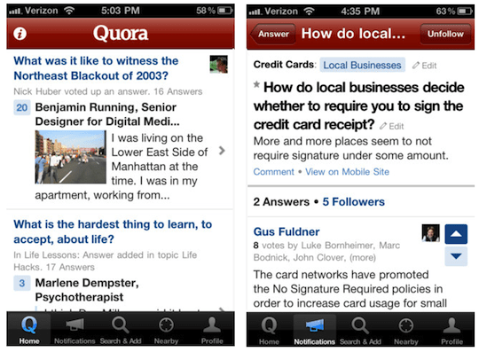 Quora iPhone App