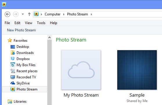 Delete photo stream photos from windows