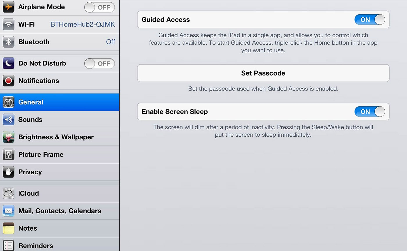 How to lock the iPad home button IOS 6