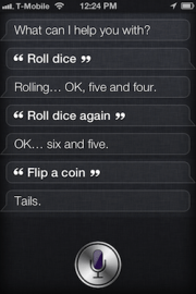 Siri flip coin roll dice
