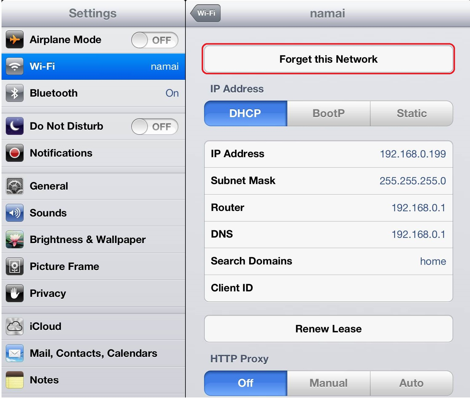 ipad forget network setting