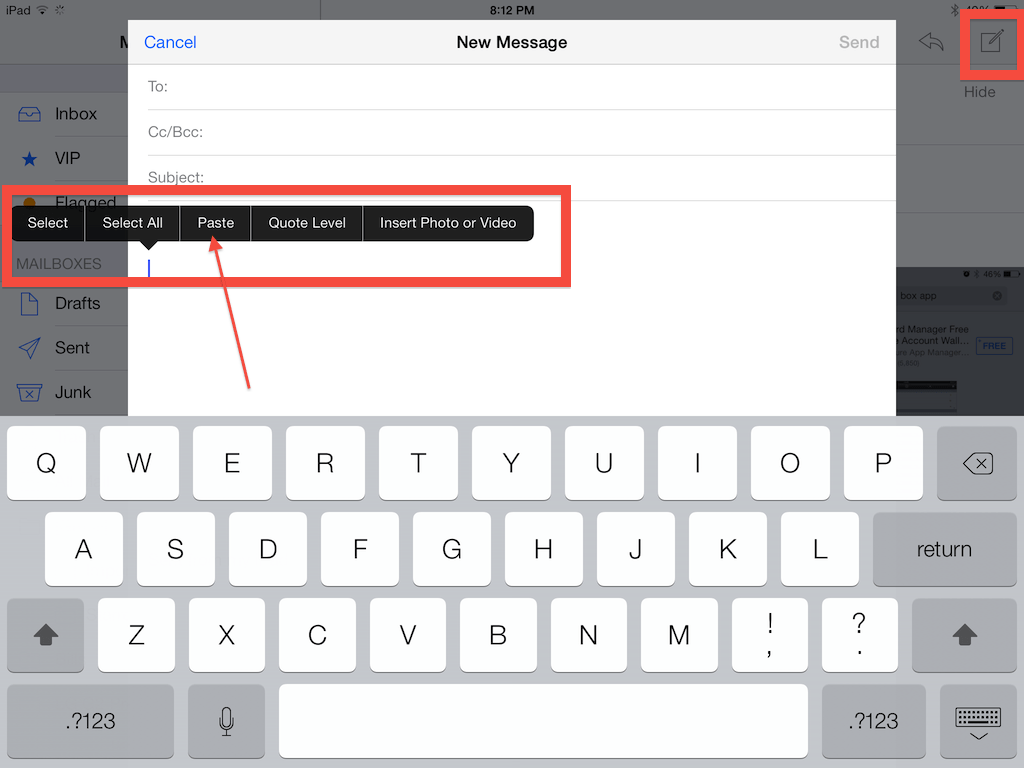 Choose compose to send a letter, than press the display until the black box full of choices appears