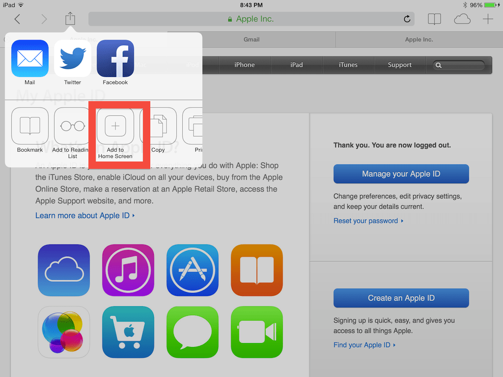 Copy the Apple ID website to your desktop