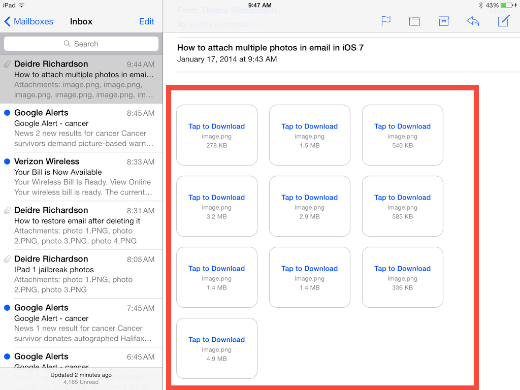 I sent myself 10 screenshots in the iOS 7 mail app to show