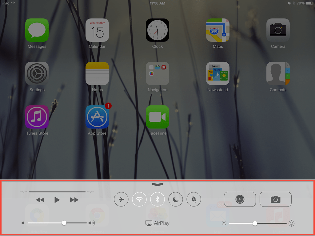 You can access the iOS 7 control center by swiping from the bottom of the desktop screen