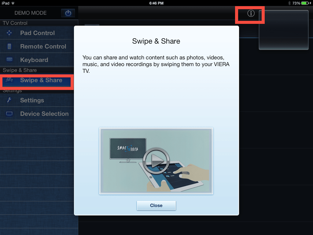 iPad TV Remote 2 app swipe and share revised