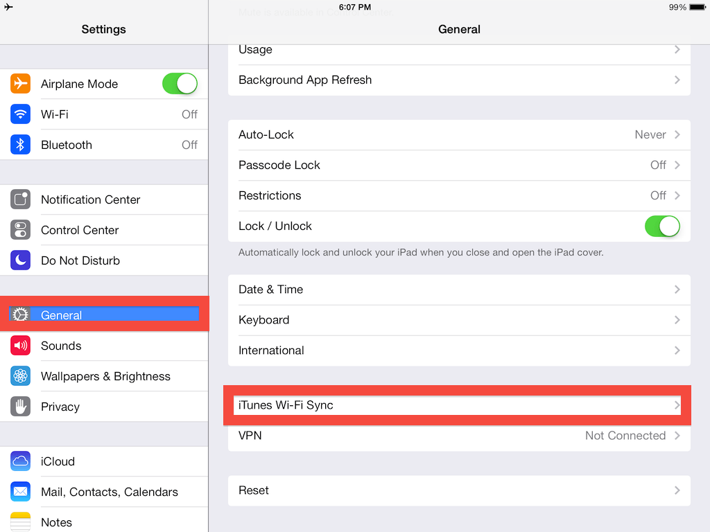 To sync your iPhone and iPad, first go into settings, where you will find iTunes Wi-Fi sync