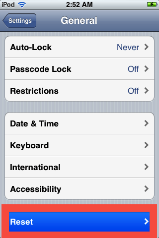 in general settings, scroll down and select reset on your ipod touch 5g