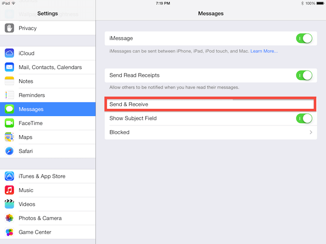 in your iMessage settings, select send and receive