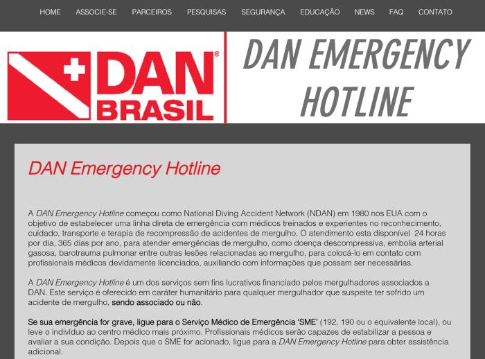 DAN hotline - Plano de Ação para Emergências