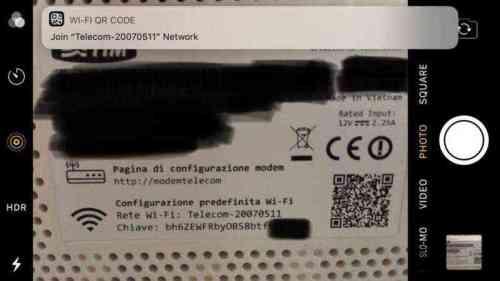 「Wi-Fiルータ」のQRコードをカメラでスキャン