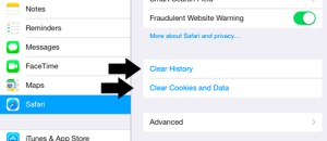 Clear History and Clear Cookies and Data