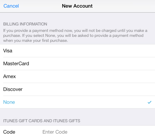 Make Apple Account Without Credit Card