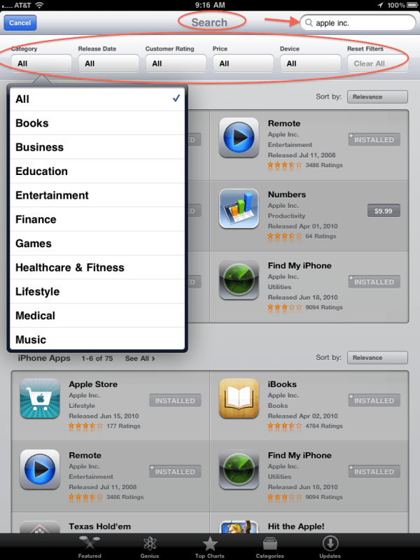 AppStore Search More Refined on iPad iPad Notebook
