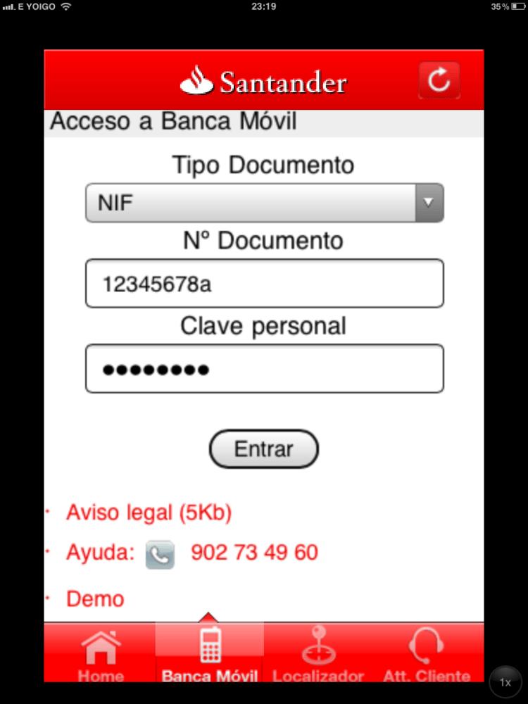 Banca Móvil Banco Santander España 1.0 (3/6)