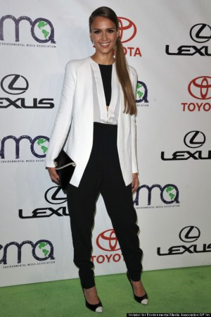 Jessica Alba shows off how to pair black and white clothing together for a smart evening dress code.  (Photo credit: Entertainment Media Association, AP)