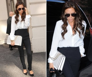 Fashion designer Victoria Beckham has been enjoying  the monochromatic style in a white shirt and fitted black trousers. (Photo credit: Getty Images)