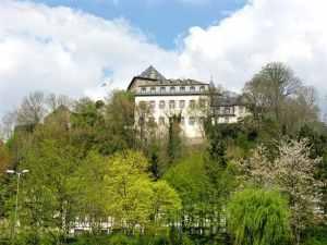 View on Burg Blankenheim, the Castle of Blankenheim, Eifel region, Ahr valley, youth hostel, Germany