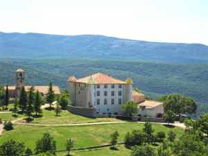 The castle of Aiguines, Provence, green mountains, beautiful castle