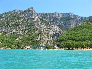 Lake of Saint-Croix, Pont du Galetas, Gorges du Verdon, France, turquoise blue water
