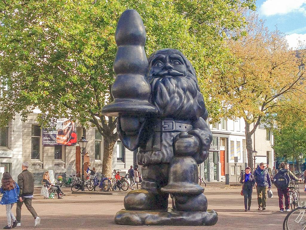 a statue of santa clau in Rotterdam, the so-called Kabouter Buttplug