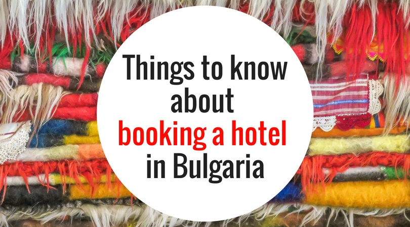 a pile of colourful rugs with a text on them: Things to know about booking a hotel in Bulgaria