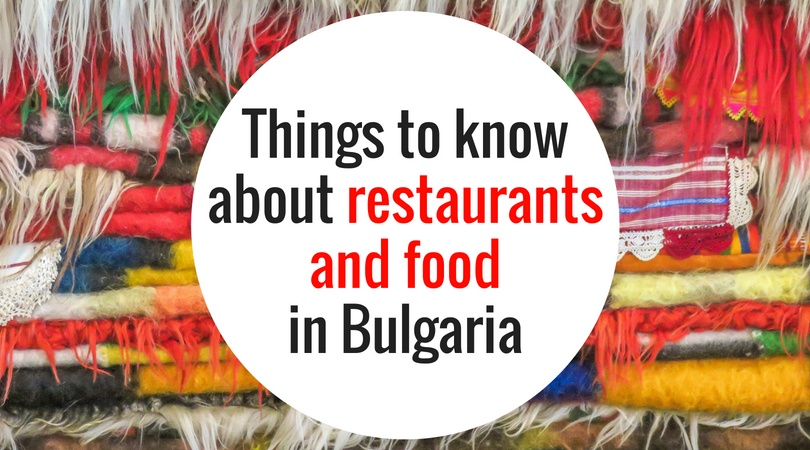 a pile of colourful rugs with a text on them: Things to know about restaurants and food in Bulgaria
