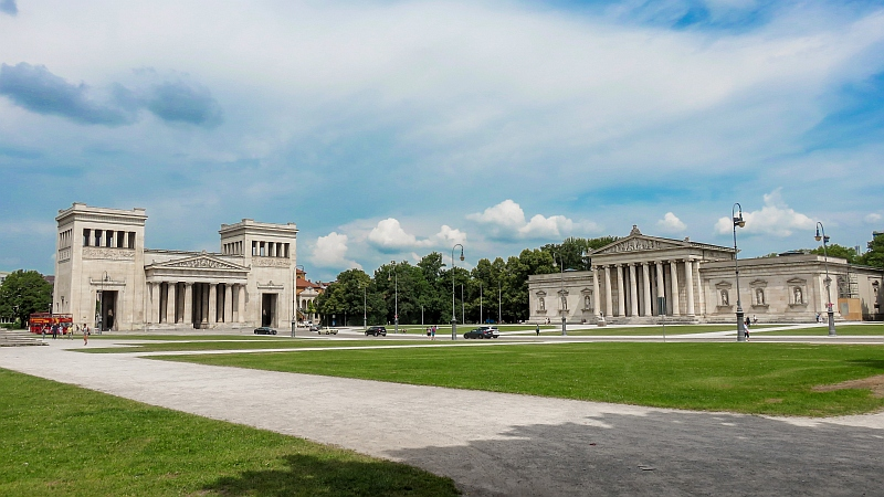 buildings in Greek classic style with Dorian columns in Munich, the Propylaea and the Glyptothek in Munich - Germany