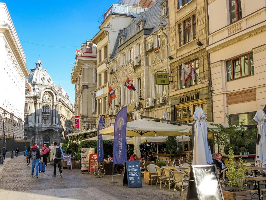 The buzzing Old Town in Bucharest