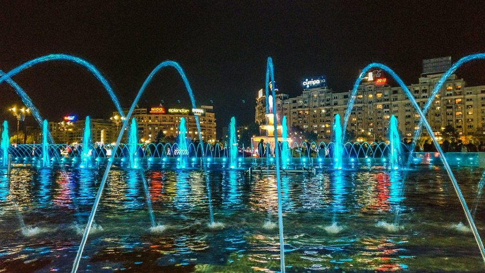The fountains on Union Square in Bucharest