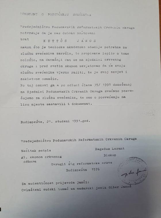 Zaređenje Janosa Kettosa