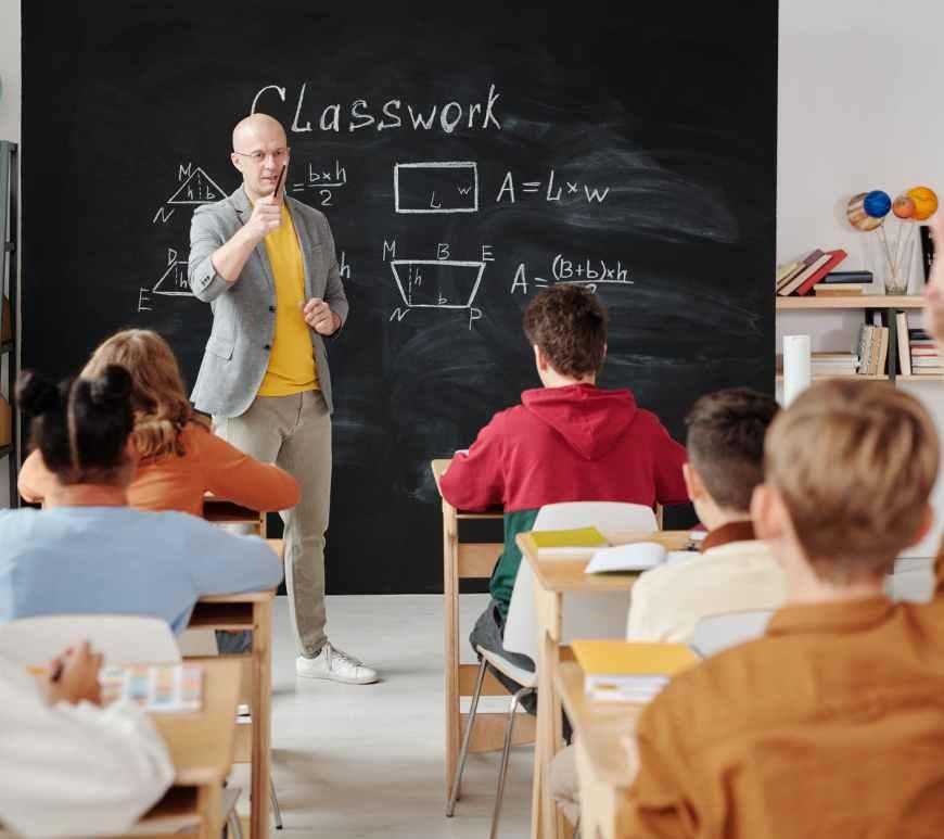 teacher asking a question to the class