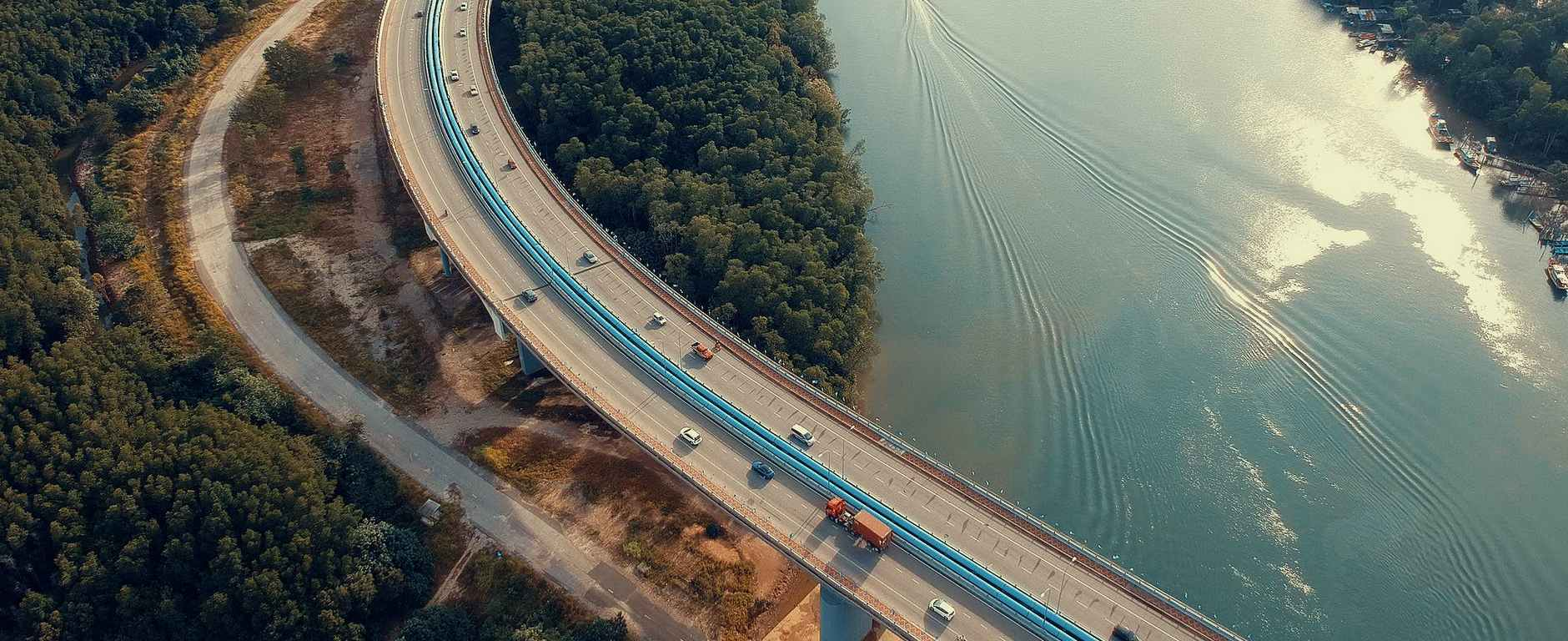 aerial view photography of bridge near river
