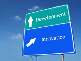 DEVELOPMENT-INNOVATION road sign  Product innovation requires a new patenting strategy.