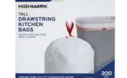 Highmark Tall Drawstring Kitchen Trash Bags 200 Count $8.00!
