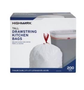 Highmark Tall Drawstring Kitchen Trash Bags 200 Count $8.00!