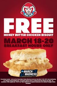 Free Honey Butter Chicken Biscuit At Wendys!