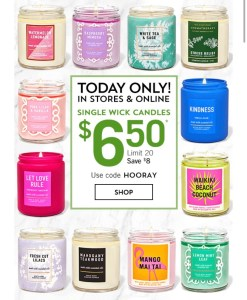 $6.50 Single Wick Candles at Bath & Body Works #AmySaves