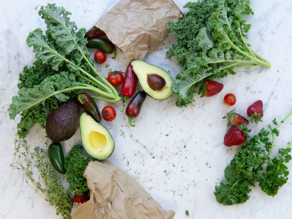 flat lay photo of fruits and vegetables