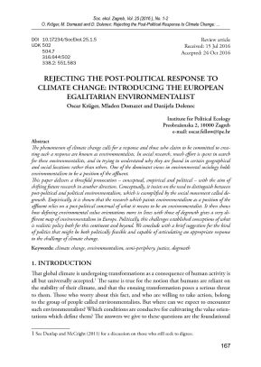 Rejecting the Post-Political Response to Climate Change: Introducing the European Egalitarian Environmentalist | Oscar Krüger, Mladen Domazet, Danijela Dolenec