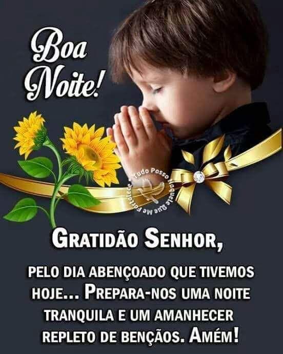 Mensagem de gratidão ao Senhor boa noite