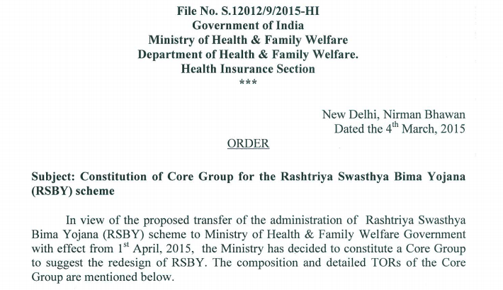 N. Devadasan on the Core Group to redesign the Rashtriya Swasthya Bima Yojana
